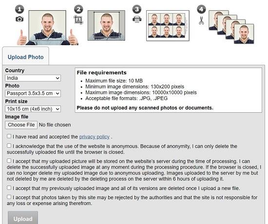 create own passport size photo