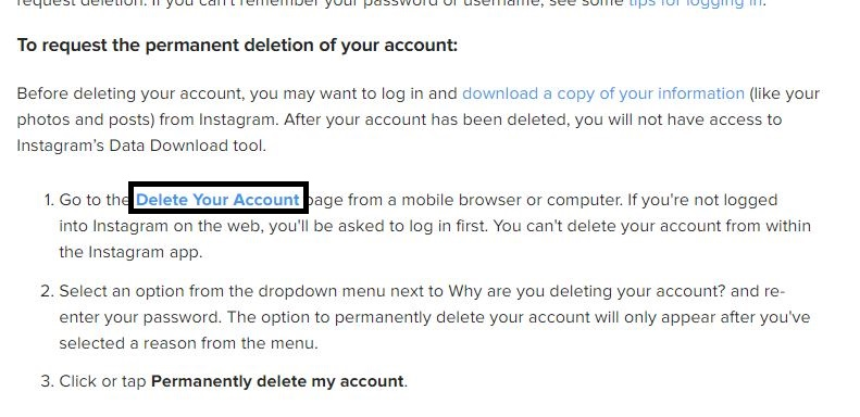 Click on Delete your account link
