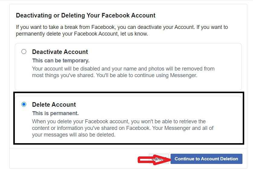 Confirm and delete account