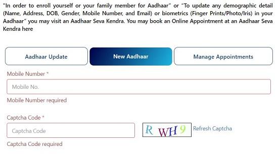 select new aadhaar