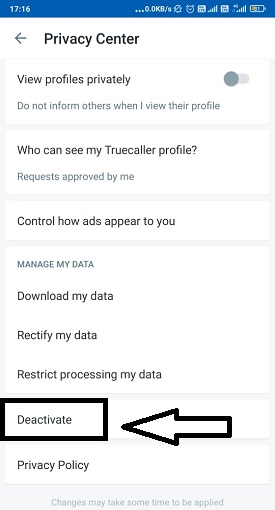 Deactivate truecaller