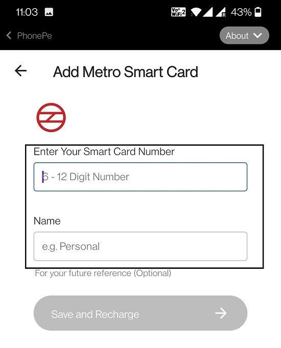 Add Metro Card Number