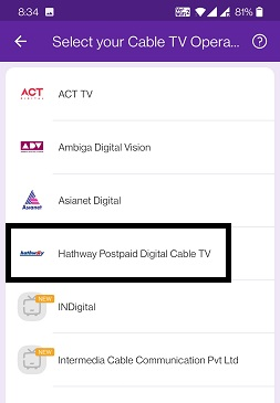 Select cable TV Operator